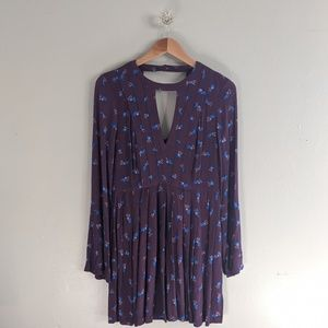 Free People Tunic Dress Floral Print Purple